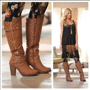 Shoes - CHESTNUT BROWN QUILTED KNEE HIGH BOOTS